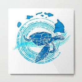 Watercolor Turtle Love Metal Print