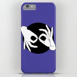 Sign Language (ASL) Interpreter – White on Black 02 iPhone Case