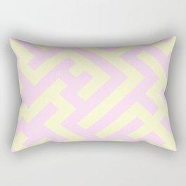 Cream Yellow and Pink Lace Diagonal Labyrinth Rectangular Pillow