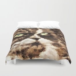 Painted angry looking persian cat head Duvet Cover