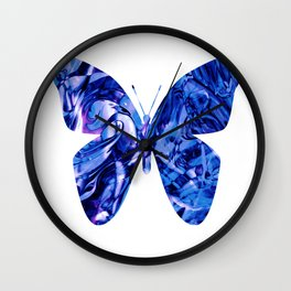 Fluid Butterfly (Blue Version) Wall Clock