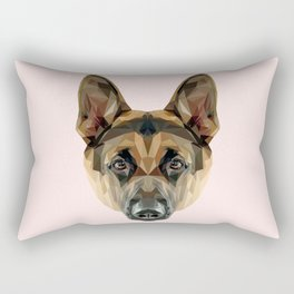 German Shepherd // Pastel Pink Rectangular Pillow