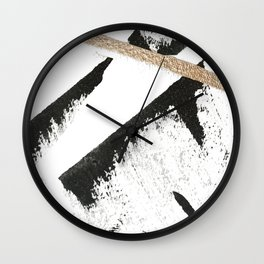 Sassy: a minimal abstract mixed-media piece in black, white, and gold by Alyssa Hamilton Art Wall Clock