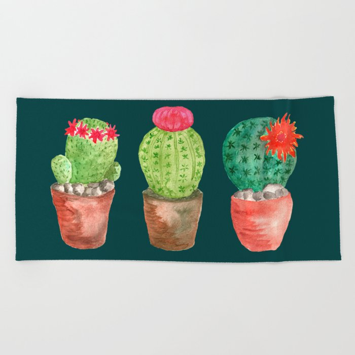 Three Cacti watercolor green Beach Towel