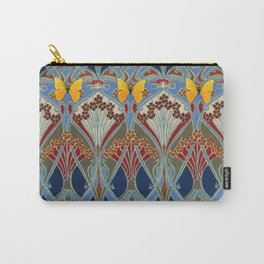 Ornate blue & Yellow Art Nouveau Butterfly Red Designs Carry-All Pouch