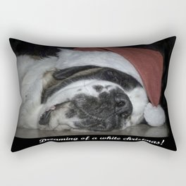 Sleeping Christmas Saint Bernard dog Rectangular Pillow