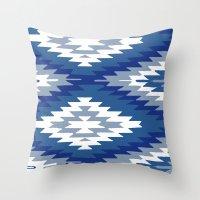 kilim Throw Pillows featuring Kilim Rug Blue by suzyoconnor