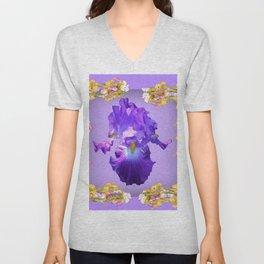 Purple Iris & Iris Border Pattern Art Unisex V-Neck