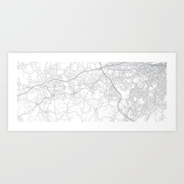 Boston marathon route in blue Art Print