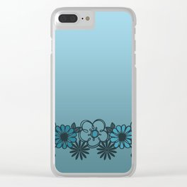 Kitschy Flower Medley Turquoise Clear iPhone Case