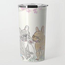 French Bulldogs Romantic Picnic Illustration Travel Mug