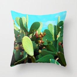 Cactus fruit turquoise Throw Pillow