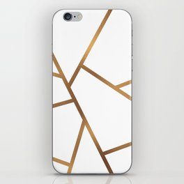 White and Gold Fragments - Geometric Design iPhone Skin