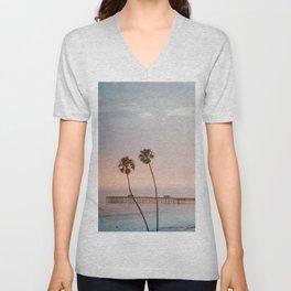 palm trees sunset vi / san clemente, california Unisex V-Neck