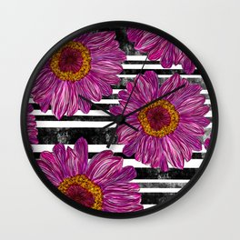Pink Ink Flowers on Black & White Stripes Wall Clock