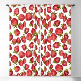 Watercolor Strawberries Blackout Curtain