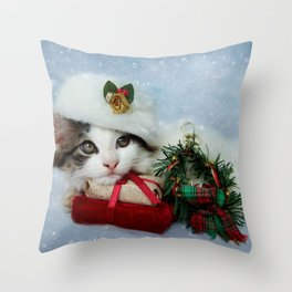 Christmas Kitten in the Snow Throw Pillow