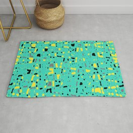 Turquoise blue, yellow and black spots, abstract galaxy texture print, color moving fragments Rug