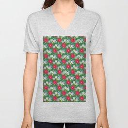 Red Zinnias Daisies Dark Green Background Unisex V-Neck