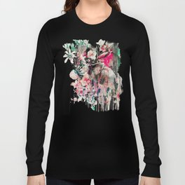 Watercolor Elephant and Flowers Long Sleeve T-shirt