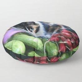 Cat between vegetables Market Marocco #society6 Floor Pillow