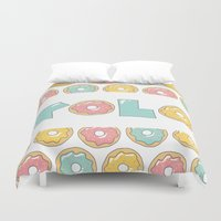doughnut Duvet Covers featuring Doughnut Yolo by MOJA