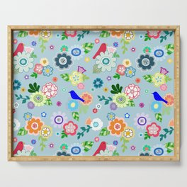 Whimsical Spring Flowers in Blue Serving Tray