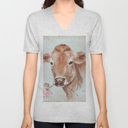 Cow with Rose by Debi Coules Unisex V-Neck