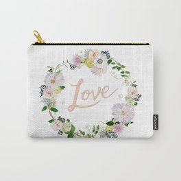 Love Pink Flower Wreath Carry-All Pouch