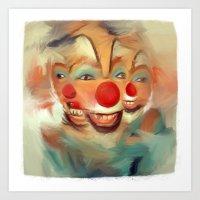 clown Art Prints featuring clown by robotrake