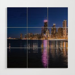 Blue Chicago night Wood Wall Art