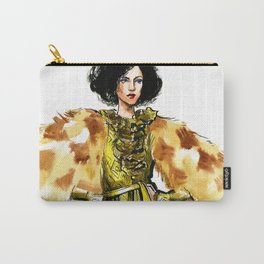 fashion 29: woman in a golden dress and fur jacket Carry-All Pouch