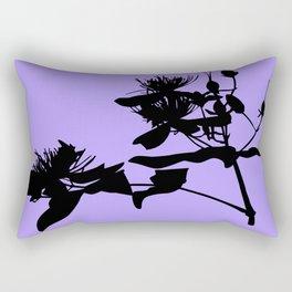 Black Flower Silhouette On Purple Background Rectangular Pillow