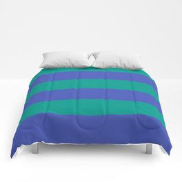 Even Horizontal Stripes, Teal and Indigo, XL Comforters