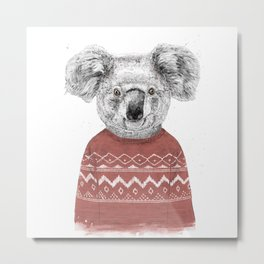 Winter koala (red) Metal Print