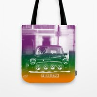 mini cooper Tote Bags featuring Mini by Matt Wade