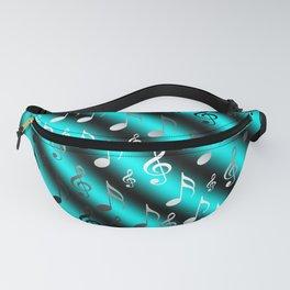 mint,blue,black,music, note, notes, ribbon, symbol, symbol, silver, pattern textile, f Fanny Pack