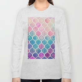 Rainbow Pastel Watercolor Moroccan Pattern Long Sleeve T-shirt