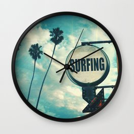 Surfing Sign Wall Clock
