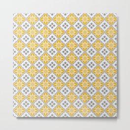 portuguese pattern yellow gray 02 Metal Print