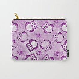 Owls Wallpaper,purple Carry-All Pouch