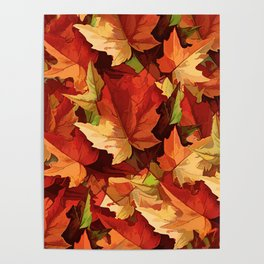 Autumn Leaves Abstract - Painterly Poster