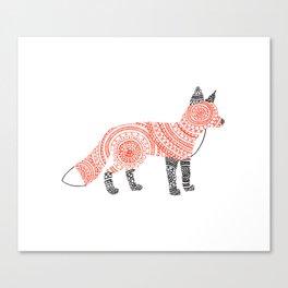 Fox Circle Art Canvas Print