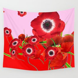 RED TIDE OF RED SPRING ANEMONE  GARDEN  FLORAL Wall Tapestry