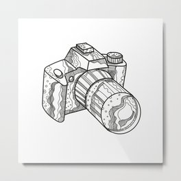 DSLR Camera Doodle Art Metal Print