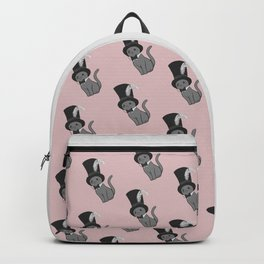Grey Cat Wears Plumed Top Hat Backpack