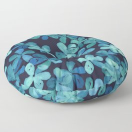 Hand Painted Floral Pattern in Teal & Navy Blue Floor Pillow