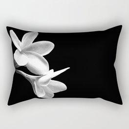 White Flowers Black Background Rectangular Pillow