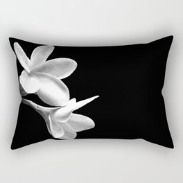 White Flowers Black Background Rectangular Pillow