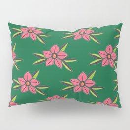 Hand Drawn Old School Tattoo Flower - Dark Green Pillow Sham